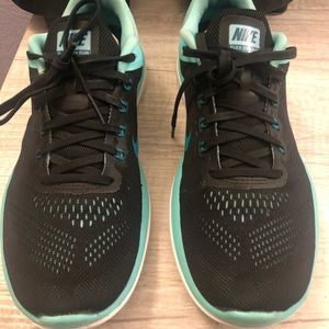 Nike Flex black teal turquoise white running shoes